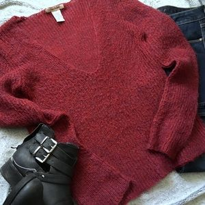 Free People Cranberry Deep V-Neck Knit Sweater